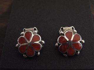 花型ピアス-赤珊瑚