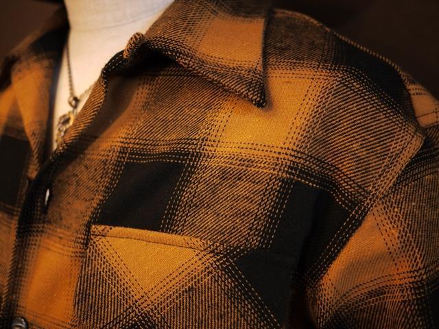 SOLD!! オンブレチェックオープンシャツGRS-244日本製